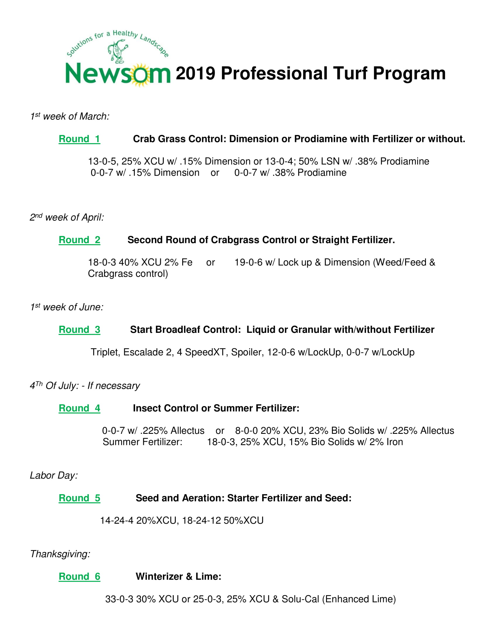 Newsom Professional Turf Program 2018